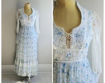 XS Vintage 1970s Womens Prairie Cream Lace Cottagecore Wedding Dress Maxi Boho Gown