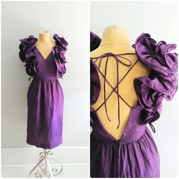Small Vintage 1980s Purple Origami Dress with Puff