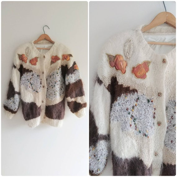 Large Vintage Fuzzy Mohair Mixed Media Womens Swea