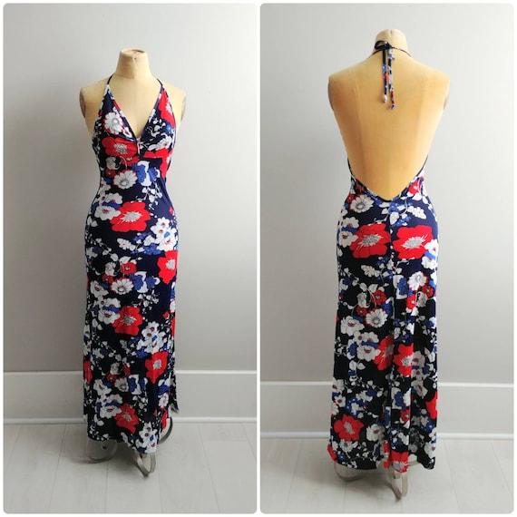 Small 1970s Flower Print Halter Slip Dress Maxi Lo