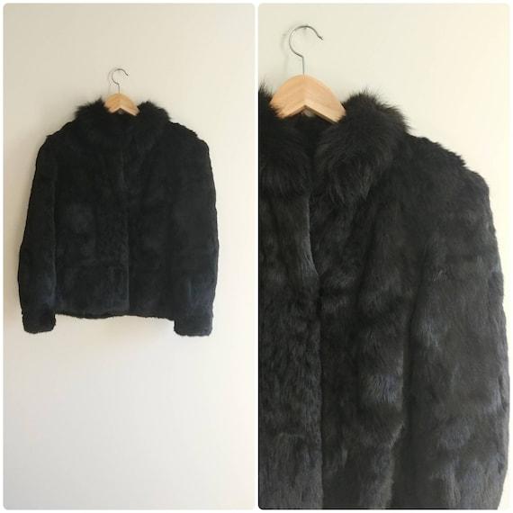 Medium Vintage 1980s Black Rabbit Fur Short Jacket