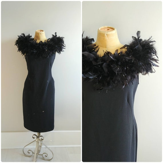 Large Vintage 1990s Black Feather Collar Cocktail