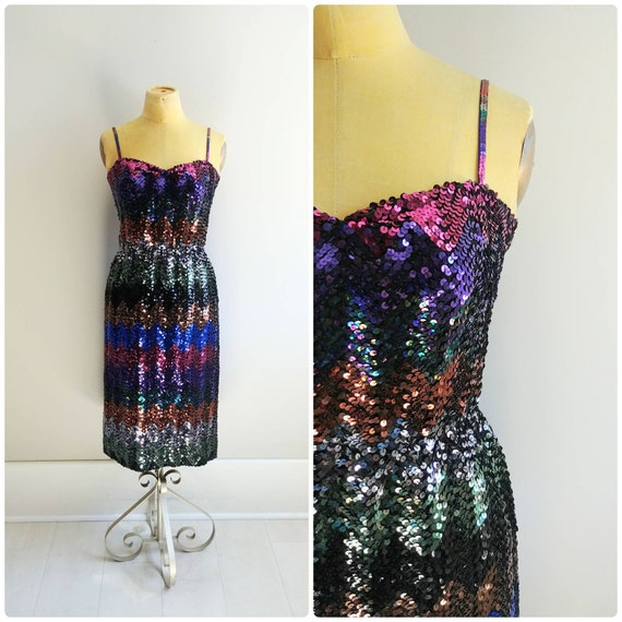 Small Vintage Sequin Dress Rainbow Glitter Party G