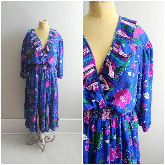 M/L Vintage 1980s Colorful Blue Purple Floral Prin