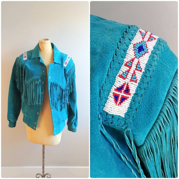 Small Womens Vintage 1980s Teal Blue Fringe Suede