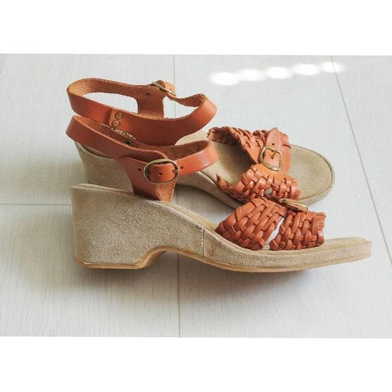 Sz 8 Vintage 1970s Womens Leather Wedge Sandles Cl