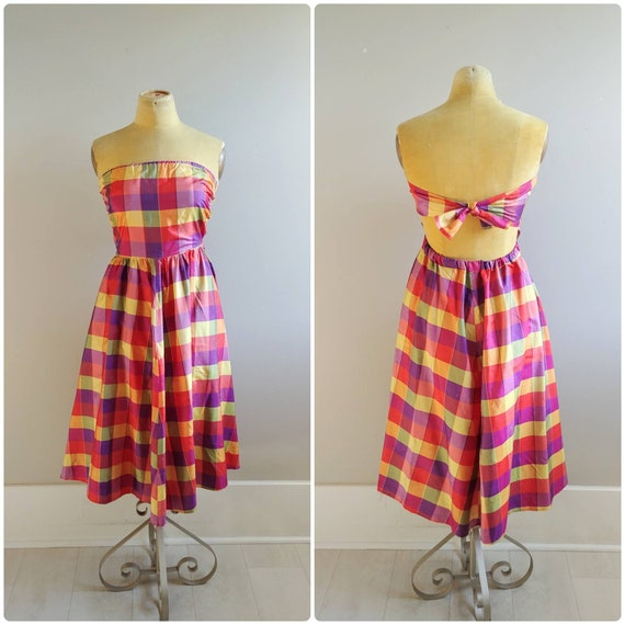 Small Vintage Rainbow Plaid Dress Backless Tie Wom