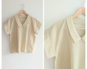 Vintage 1960s 60s Gold Metallic Peter Pan Collar T-shirt Short Sleeve Blouse