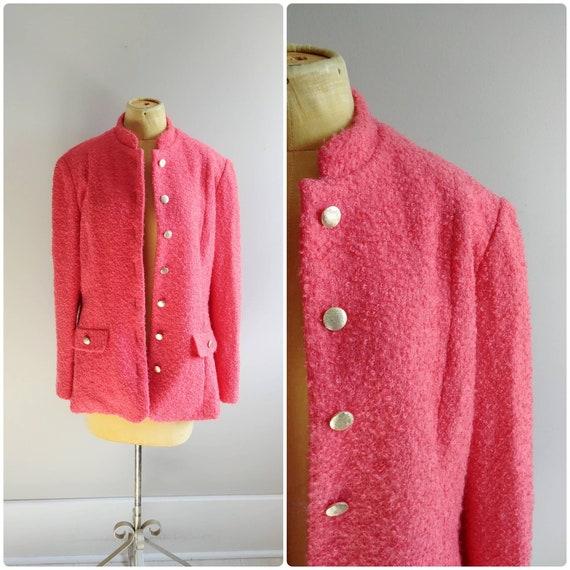 Medium Vintage Coral Pink Boucle Wool Knit Coat Sh