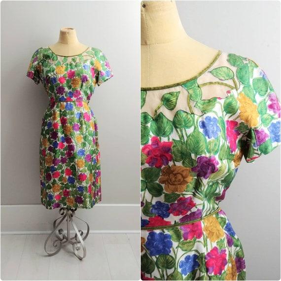 Medium Vintage 1950s SILK Floral Print Wiggle Dres