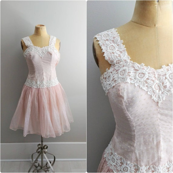 Vintage 1950s Pink Lace Applique Ballerina Dress T