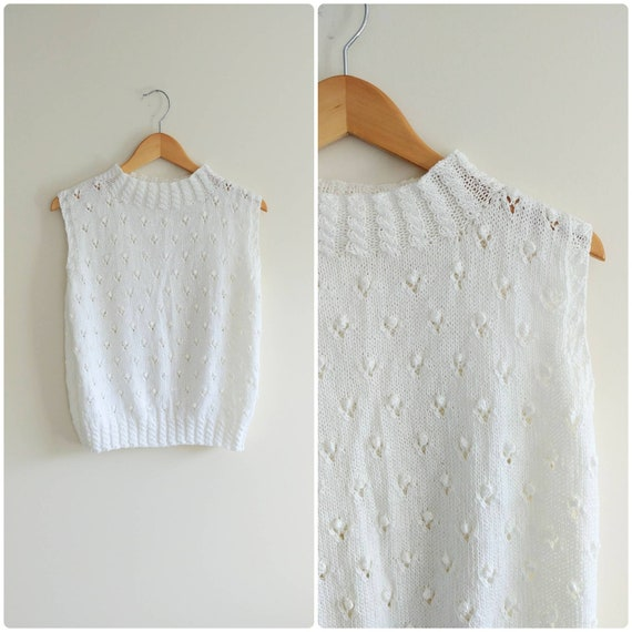 Medium Vintage 1980s White Popcorn Knit Top Womens