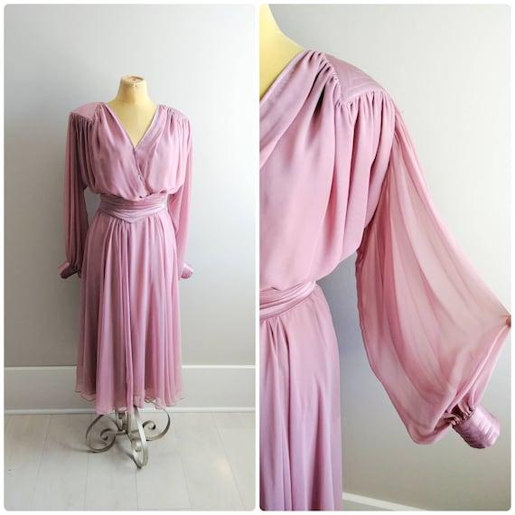 Small Vintage Womens Pink Chiffon Dress Balloon La
