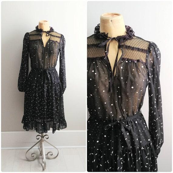 Small Vintage Prairie Dress 1970s Black Lace Mesh