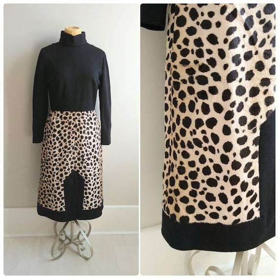 M/L Vintage Womens Dress 1960s Leopard Print Faux