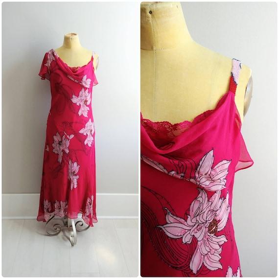 Medium Vintage 1990s does 30s Silk Chiffon Dress F