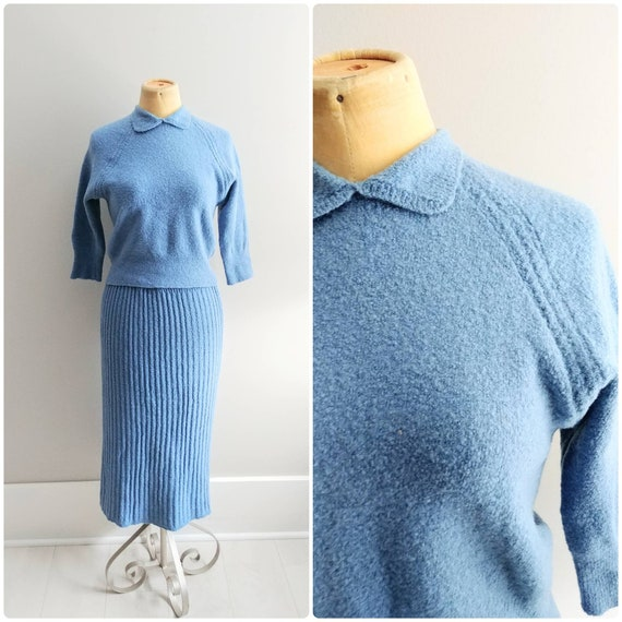 Medium Large Vintage 1940s Blue Knit Sweater Skirt