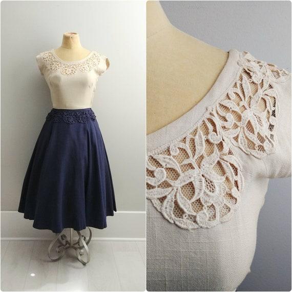 Small Vintage 1950s Carlye Linen Crocheted Peplum