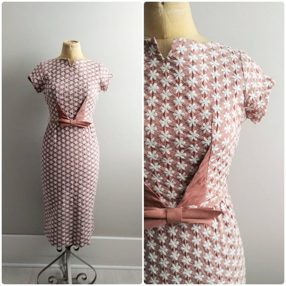 Small Vintage 1960s Wiggle Dress Bombshell Embroid