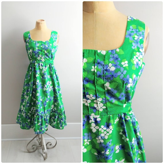 Medium Vintage 1970s Hawaiian Print Summer Dress G