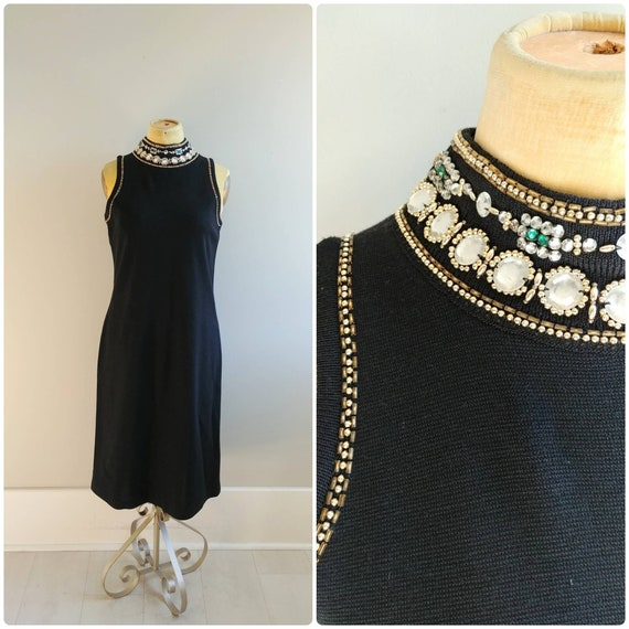 Large Vintage 1990s Black Rhinestone Gem Highneck