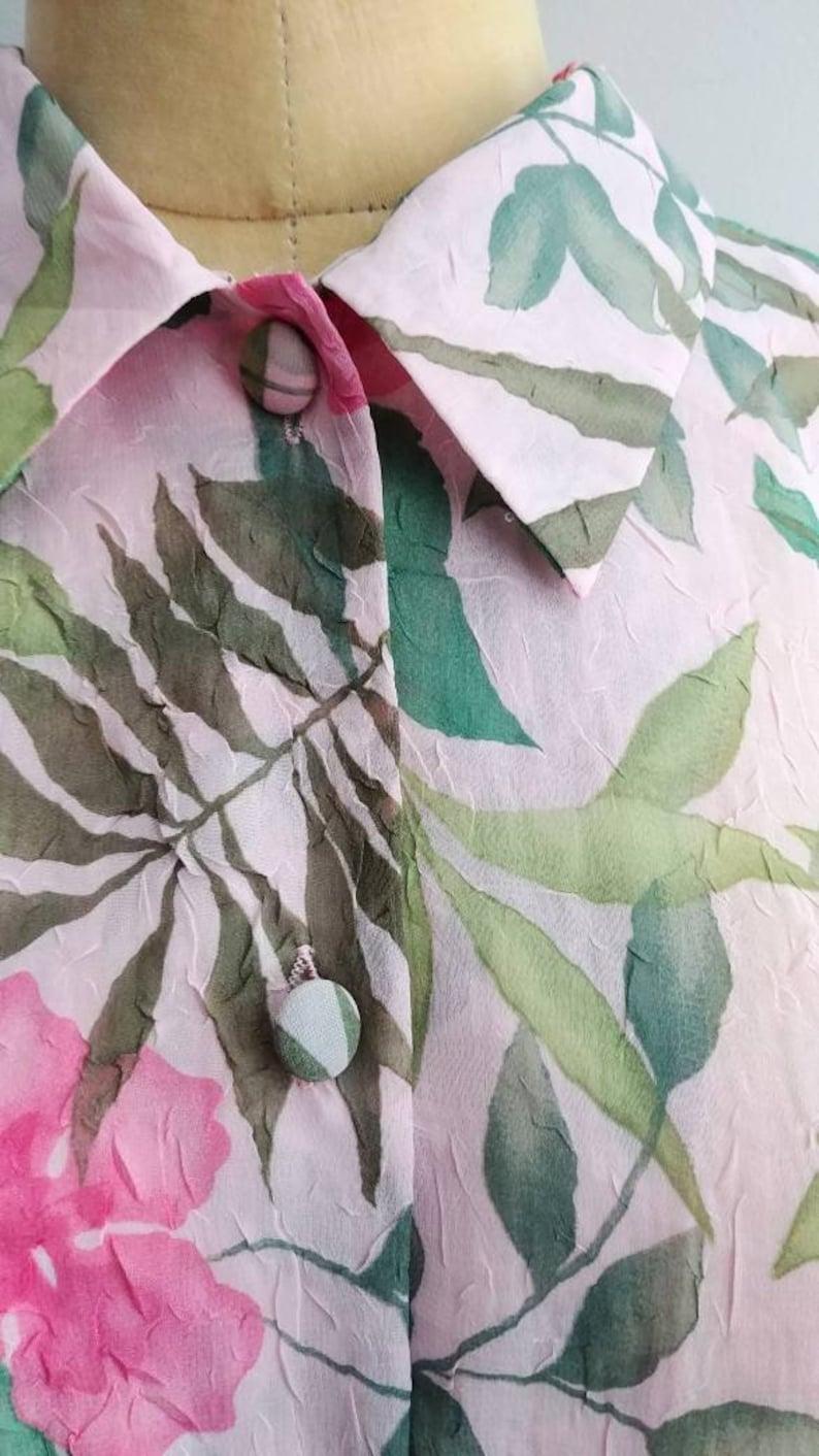 Vintage Tropical Flower Palm Leaf Print Blouse Shirt Top