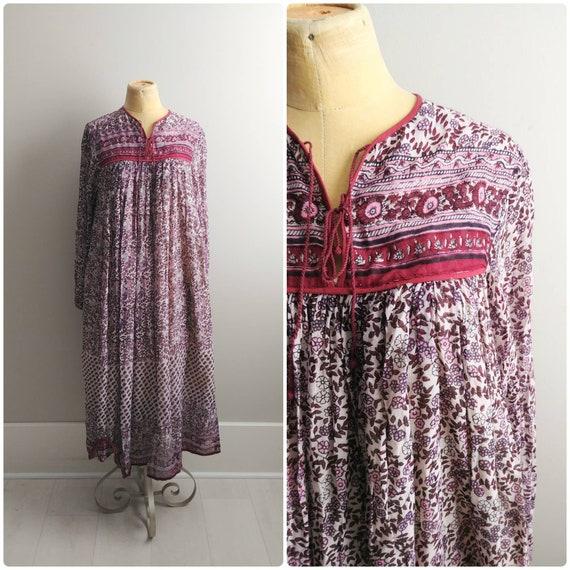Vintage Indian Cotton Gauze Dress Boho Hippie Pink