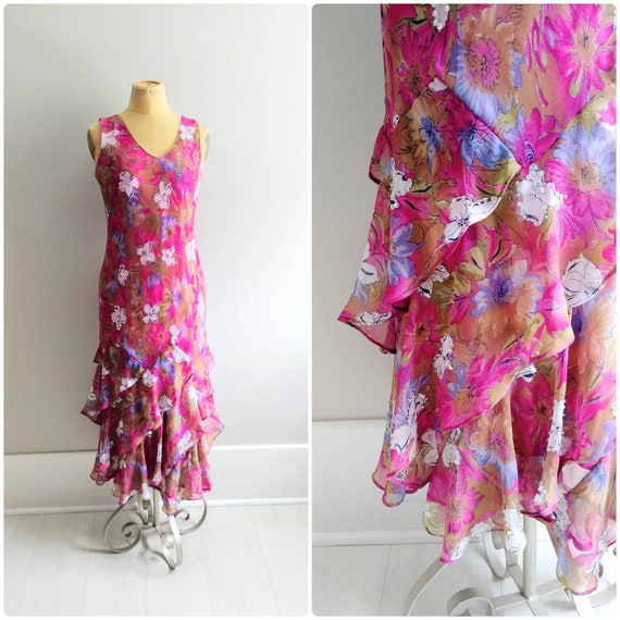 Medium 1990s Vintage Pink Chiffon Ruffle Dress Bia