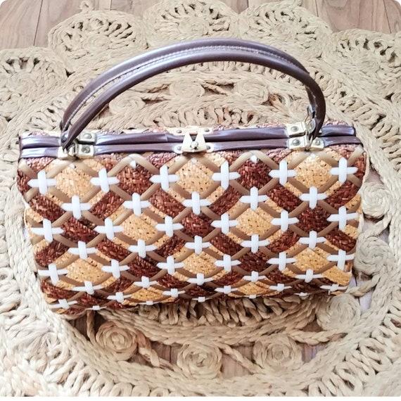 Large Vintage 1950s Wicker Picnic Purse Handbag St