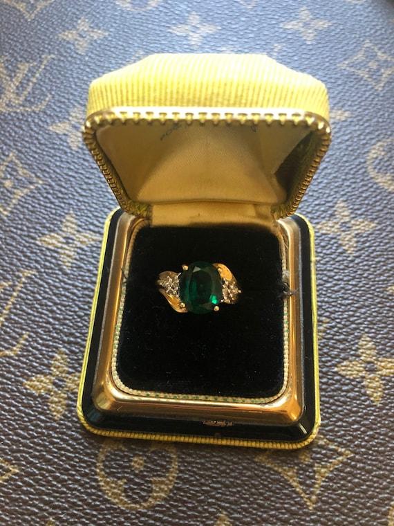 CRP 10k Yellow Gold Emerald and Diamond Ring