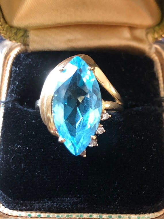 CKC 14k yellow gold Marquise topaz ring 1990s