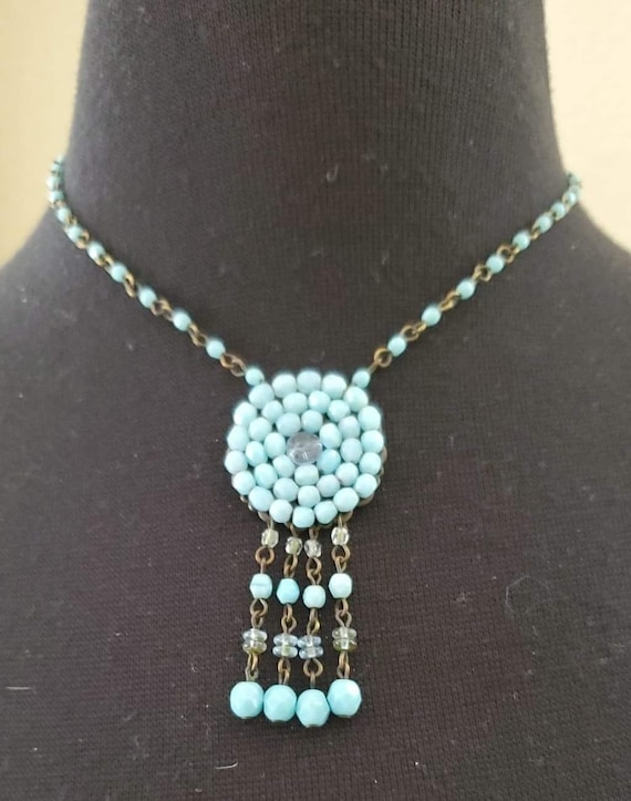Native American Sterling Silver an Beaded Necklace