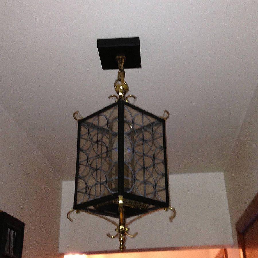 Vintage 1960s black and brass ceiling light set of 2 all original