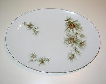 Vintage Pine Cone Fine China Platter by Seyei, Cascade Pine 11028