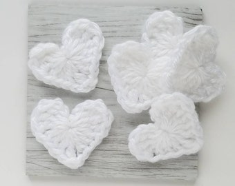 "NEW- 1pc 1.75"" Crochet WHITE HEART Applique"