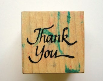 THANK YOU Wood Rubber Stamp, Pre-Used