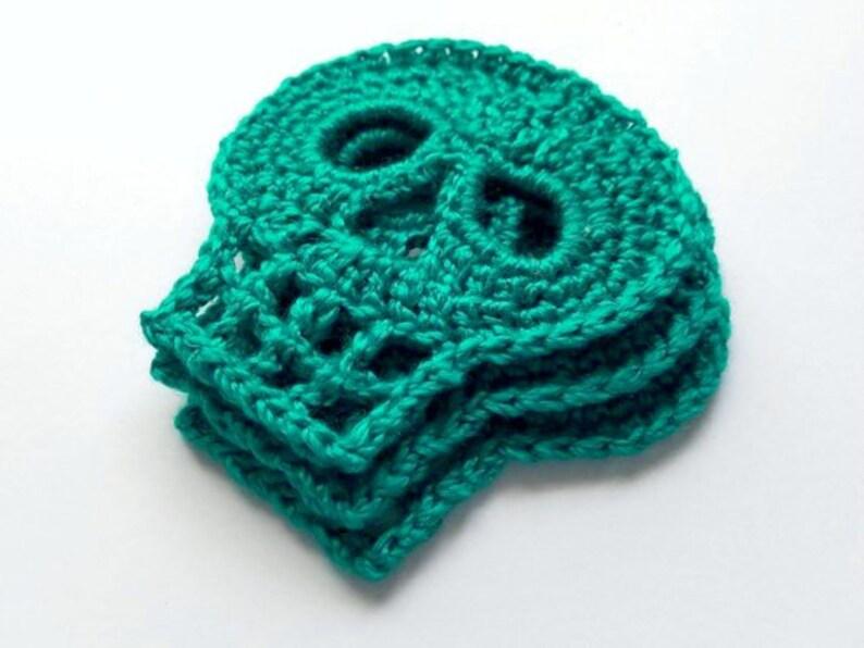 1pc 4.5 TURQUOISE SKULL Crochet Applique On SALE 25/% off