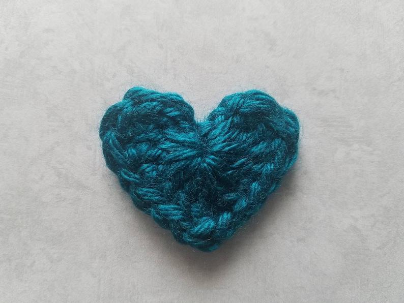 1pc 2 Dark PEACOCK Green HEART Crochet Applique On SALE 20/% off