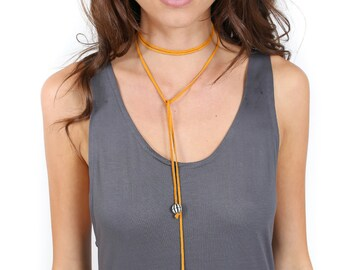 Yellow Leather adjustable Wrap choker