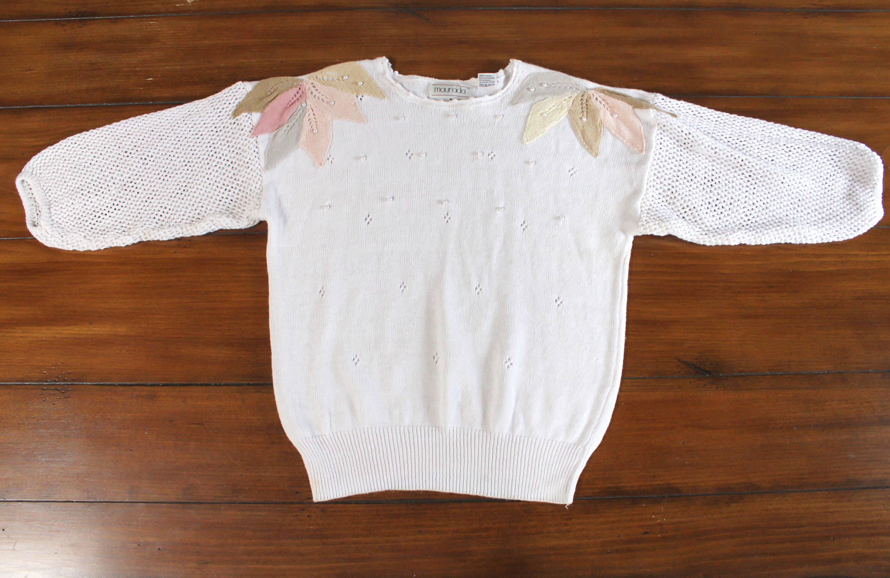6a957213d4 80s Dream Raglan Embroidered Knit Sweater