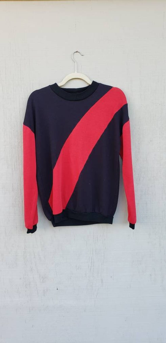 Vintage Black & Red Stripe retro sweater circa 199