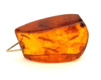 Amber Baltic Pendant Antique 4.24 Gr Cognac Honey Silver Plated