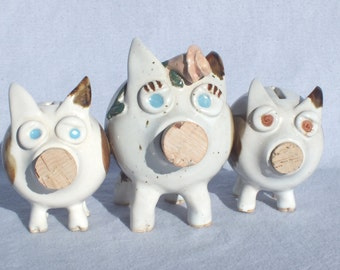 Handmade Mama Piggy and 2 Baby Piggy Banks