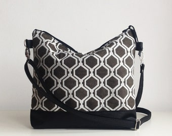 Geometric Print Crossbody bag, Hexagon print, Shoulder bag, Everyday bag, Messanger bag, Large crossbody bag