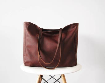 Large Vegan Leather Tote Bag, Slouchy Tote, Distressed, Casual tote, Top handle, Handbag, Back to school tote
