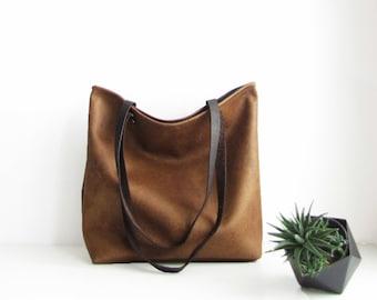 Cognac Tote Bag, Large tote bag, Distressed,  Rustic Look, Casual tote, Eco vegan leather, Shopper, Handbag, Shoulder bag, leather tote