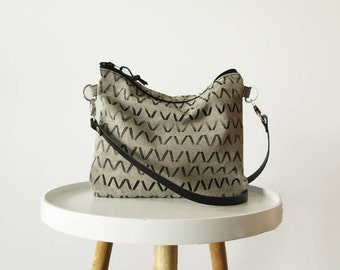 Canvas purse, Crossbody bag, Geometric print, Gray, Shoulder bag, Slouchy crossbody purse,
