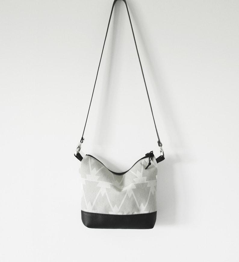 05262bd680cc Small Linen and Leather Crossbody bag, Geometric print, Crossbody purse,  Handbag, Boho bag,Cross body bag, Shoulder bag