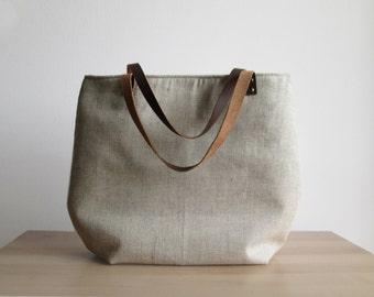 Linen Herringbone Tote bag, Natural linen, Casual tote bag, Linen and leather, Natural linen