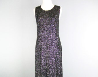 "Sparkly Black Maxi Dress / Vtg 70s / "" JBS "" Sleevless Lurex Sparkly Black Maxi Dress / Black Tank Dress / Full length lurex dress"